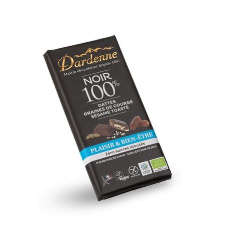 Tablette Chocolat Noir 100% Dattes, Graines de Courge, Sésame Toasté (100g) - DARDENNE