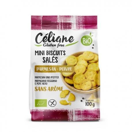 Mini Biscuits Salés Bio Parmesan Poivre (100g) - CELIANE